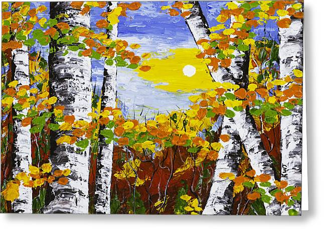 White Birch Trees In Fall Abstract Painting Greeting Card