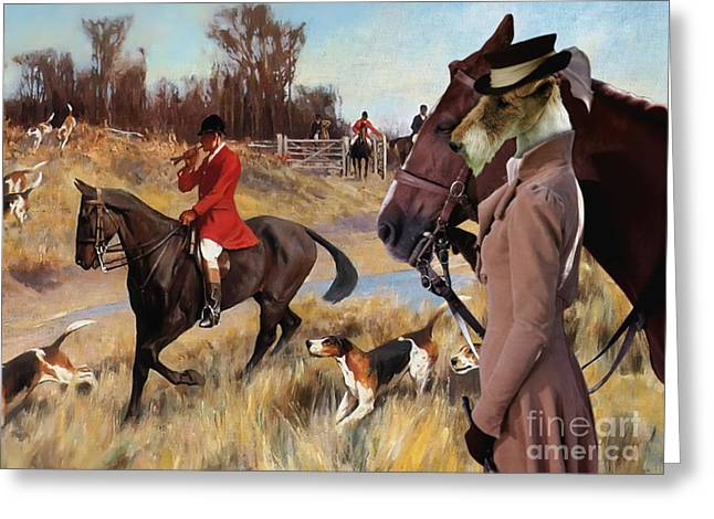 Wire Fox Terrier Art Canvas Print Greeting Card by Sandra Sij