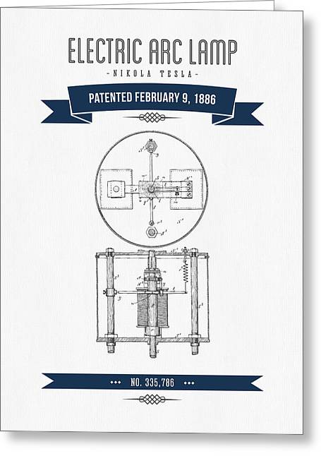 1886 Nikola Tesla Electric Arc Lamp Patent Patent Drawing - Retr Greeting Card