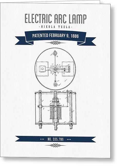 1886 Nikola Tesla Electric Arc Lamp Patent Patent Drawing - Retr Greeting Card by Aged Pixel
