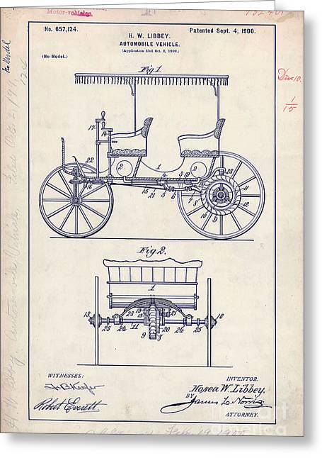 1900 Automobile Patent Drawing Greeting Card