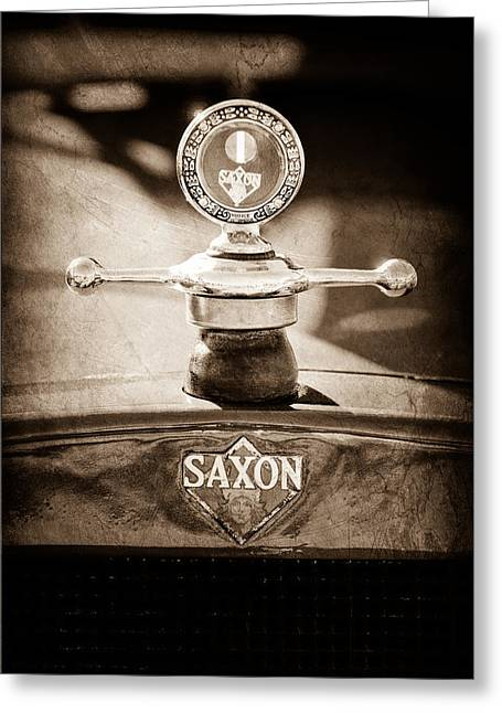 1915 Saxon Roadster Hood Ornament Greeting Card by Jill Reger
