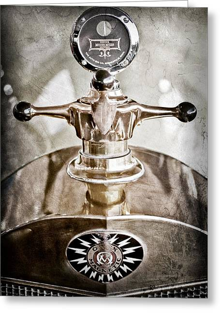 1917 Owen Magnetic M-25 Hood Ornament - Moto Meter Greeting Card by Jill Reger