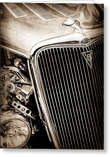 1934 Ford Deluxe Hot Rod Grille Emblem Greeting Card