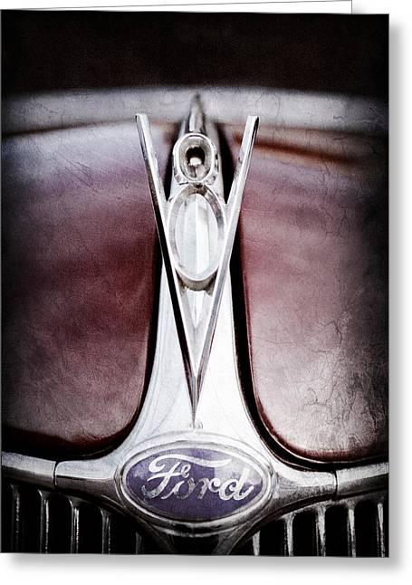 1936 Ford Phaeton V8 Hood Ornament - Emblem Greeting Card