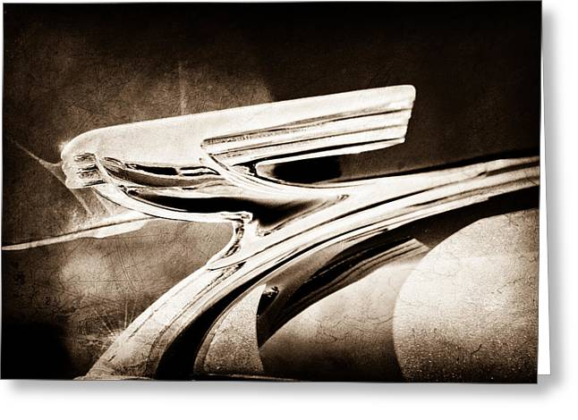 1937 Chevrolet 2 Door Sedan Hood Ornament Greeting Card