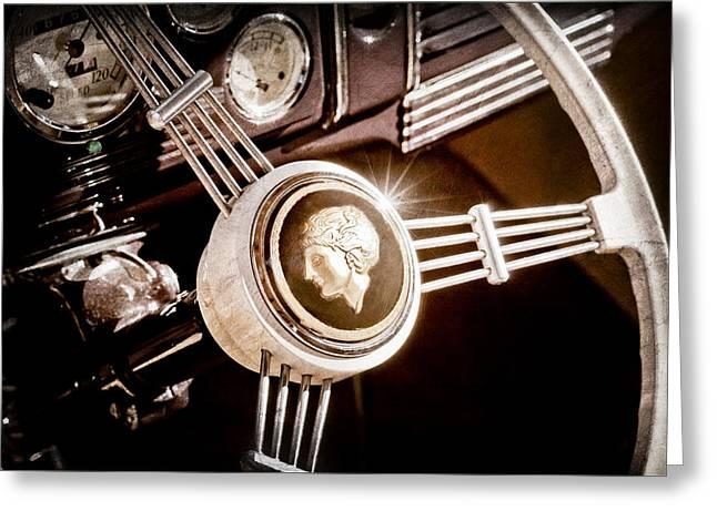 1939 Ford Standard Woody Steering Wheel Greeting Card