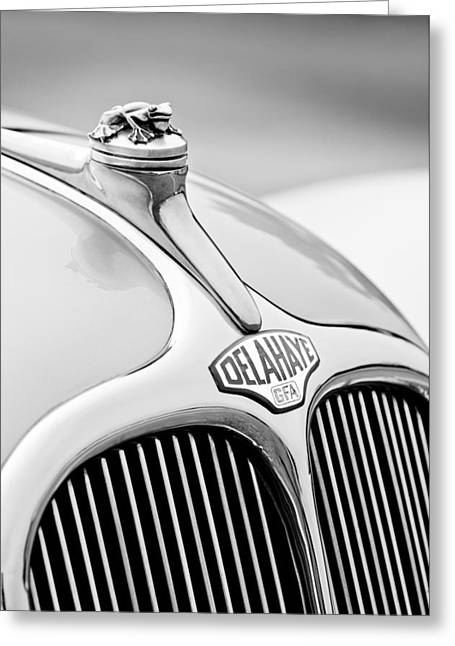 1947 Delahaye 135 Ms Langenthal Coupe Hood Ornament And Emblem Greeting Card by Jill Reger