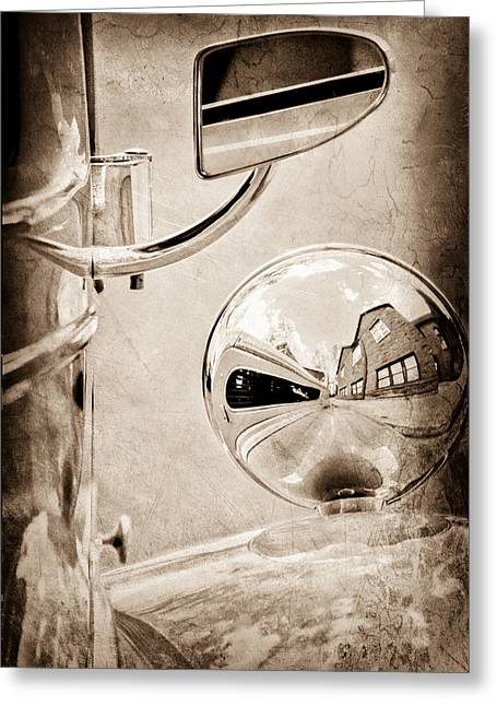 1948 Anglia Rear View Mirror Greeting Card by Jill Reger