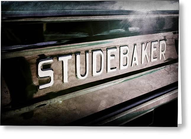 1948 Studebaker M15a Pickup Truck Tail Gate Emblem Greeting Card by Jill Reger