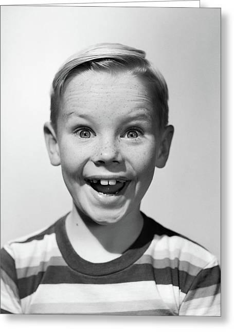 1950s Portrait Happy Smiling Boy Stripe Greeting Card