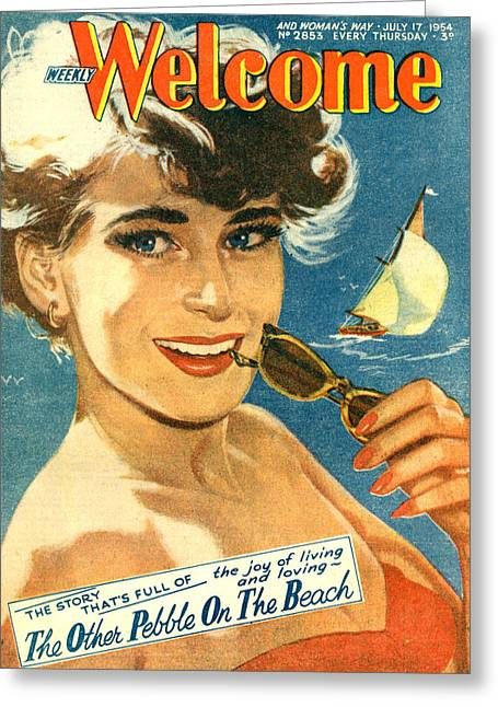 1950s Uk Weekly Welcome Magazine Cover Greeting Card by The Advertising Archives