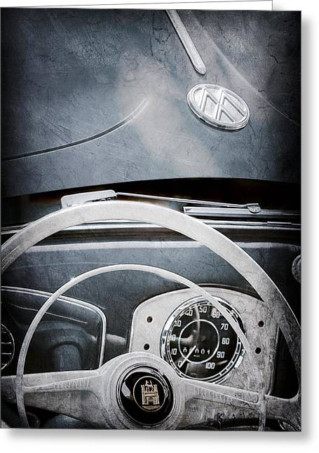 1951 Volkswagen Vw Beetle Cabriolet Steering Wheel Emblem - Hood Emblem Greeting Card by Jill Reger