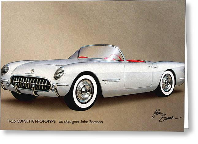 1953 Corvette Classic Vintage Sports Car Automotive Art Greeting Card