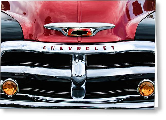 Greeting Card featuring the photograph 1955 Chevrolet 3100 Pickup Truck Grille Emblem by Jill Reger