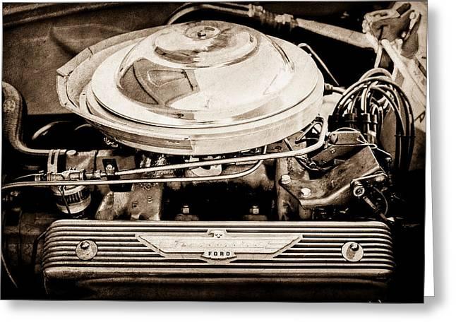 1955 Ford Thunderbird Engine Greeting Card by Jill Reger