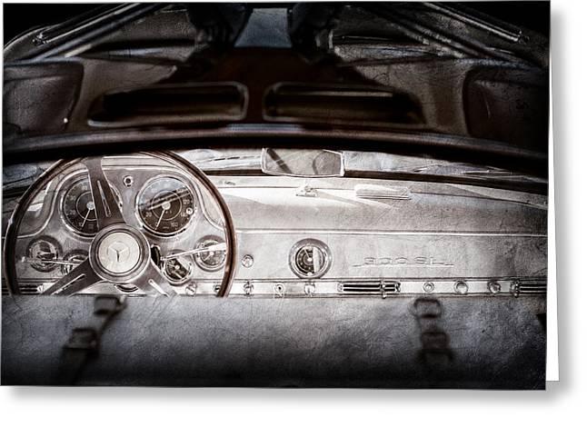 1955 Mercedes-benz Gullwing Dashboard - Steering Wheel Greeting Card by Jill Reger