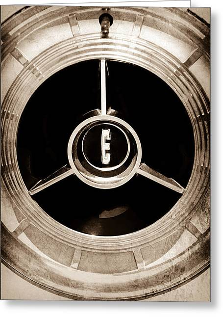 1958 Edsel Pacer Convertible Wheel Emblem Greeting Card