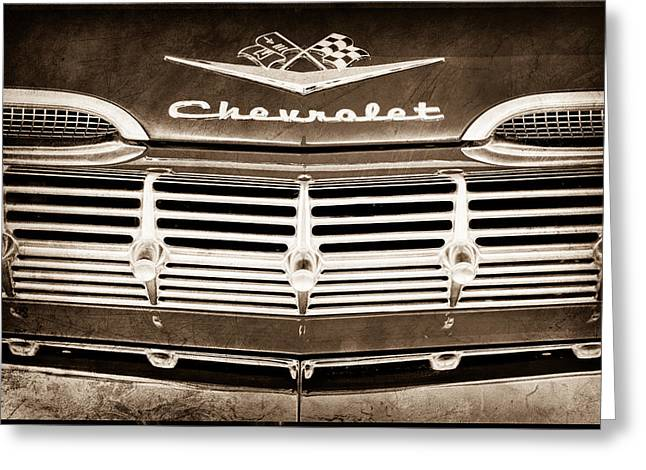 1959 Chevrolet Grille Emblem Greeting Card by Jill Reger