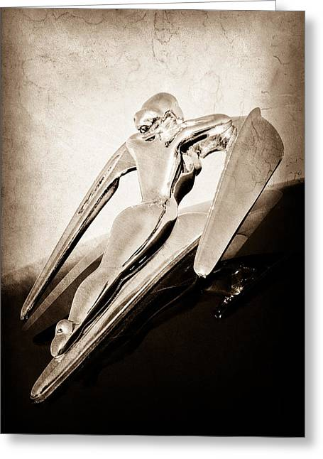 1960 Nash Metropolitan Hood Ornament Greeting Card by Jill Reger