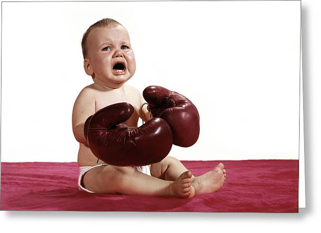 1960s Crying Baby Wearing Boxing Gloves Greeting Card