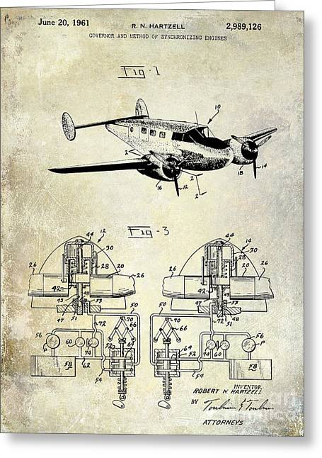 1961 Propeller Patent Blueprint Greeting Card by Jon Neidert
