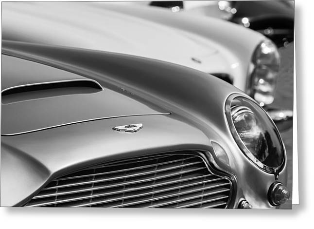 1966 Aston Martin Db6 Hood Emblem -1176bw Greeting Card by Jill Reger