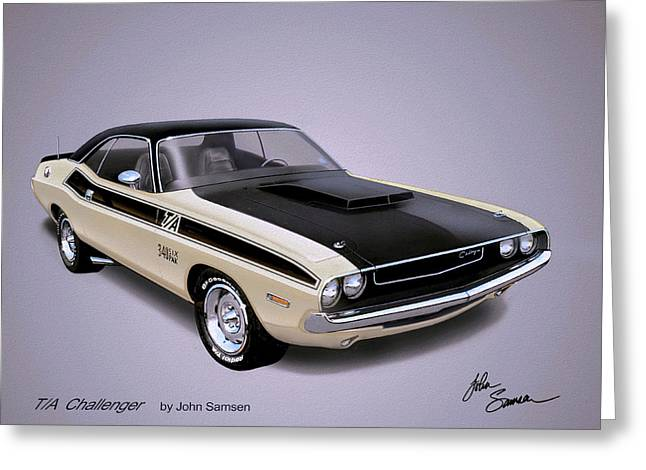 1970 Challenger T-a  Dodge Muscle Car Sketch Rendering Greeting Card
