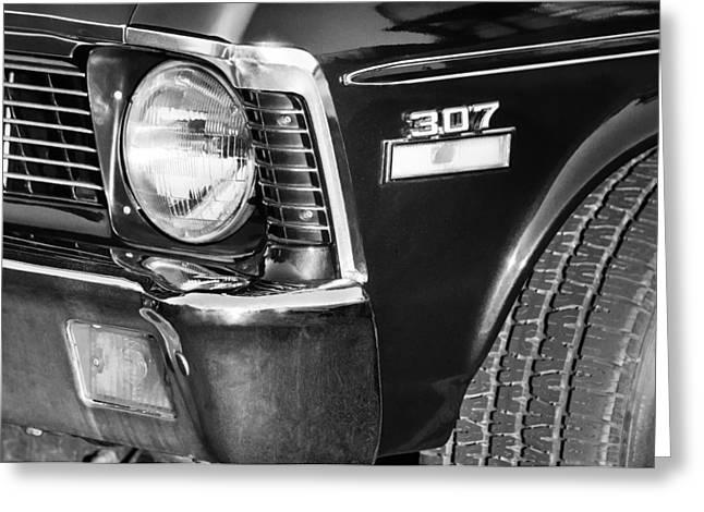 1970 Chevrolet Nova Headlight Emblem Greeting Card by Jill Reger