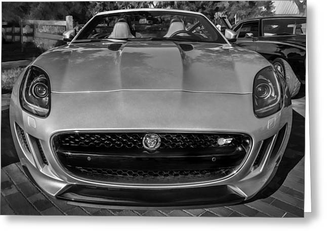 2014 Jaguar F Type V8 Convertible Painted Bw  Greeting Card by Rich Franco