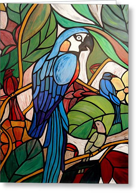 3 Birds On A Vine Greeting Card by Cynthia Amaral