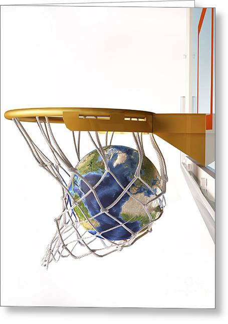 3d Rendering Of Planet Earth Falling Greeting Card by Leonello Calvetti