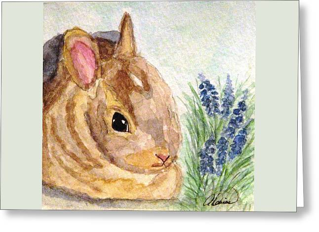 Greeting Card featuring the painting A Baby Bunny by Angela Davies