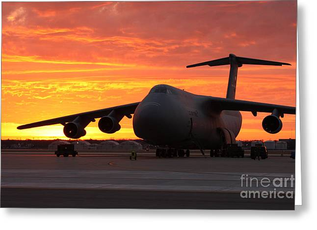 A C-5 Galaxy Sits On The Flightline Greeting Card