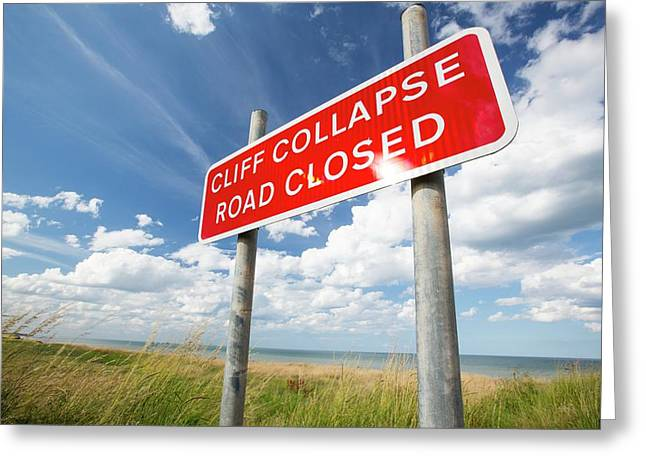 A Collapsed Coastal Road At Easington Greeting Card