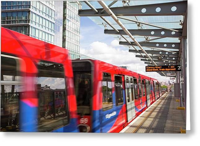 A Docklands Light Railway Train Greeting Card