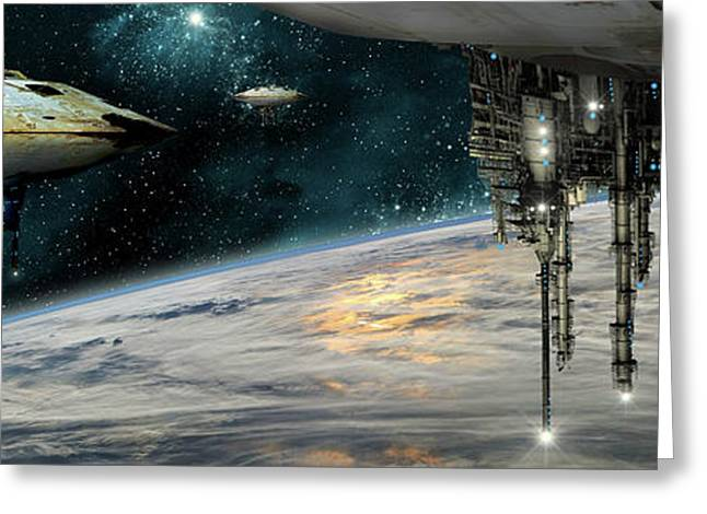 A Fleet Of Massive Spaceships Take Greeting Card by Marc Ward
