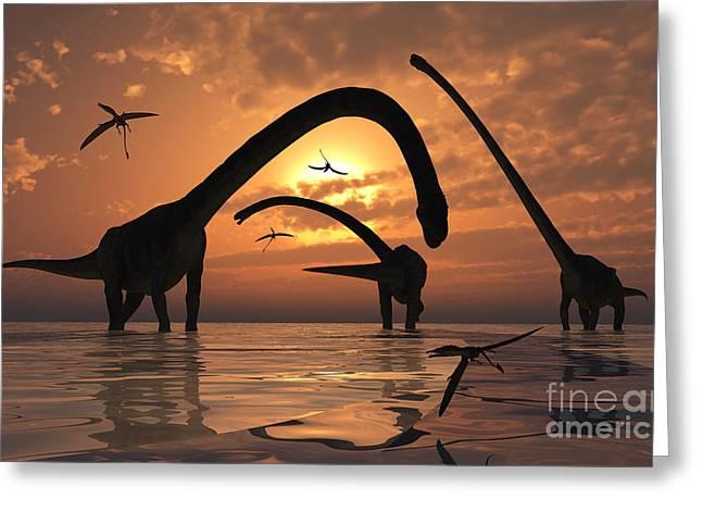 A Herd Of Omeisaurus Sauropod Dinosaurs Greeting Card by Mark Stevenson