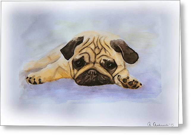 A Little Bulldog Greeting Card by Anna Androsovski