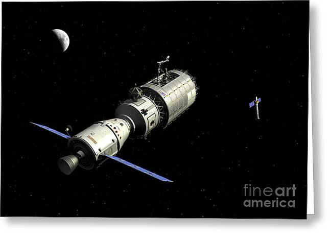 A Manned Orbital Maintenance Platform Greeting Card by Walter Myers