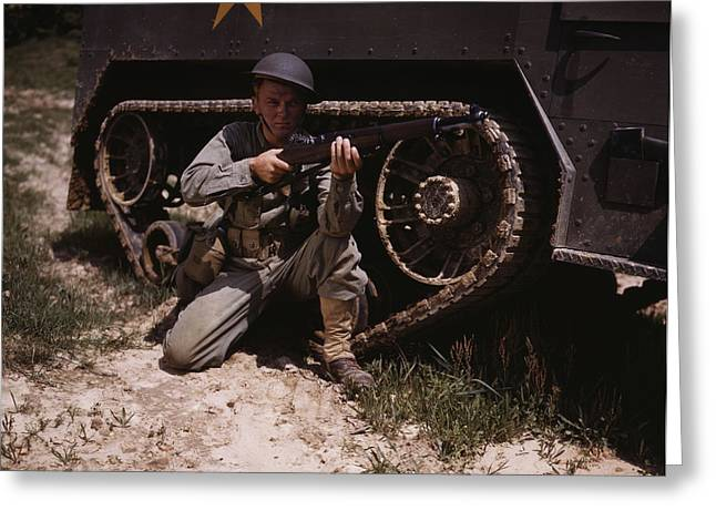 A Soldier Holds And Sights His Garand Greeting Card