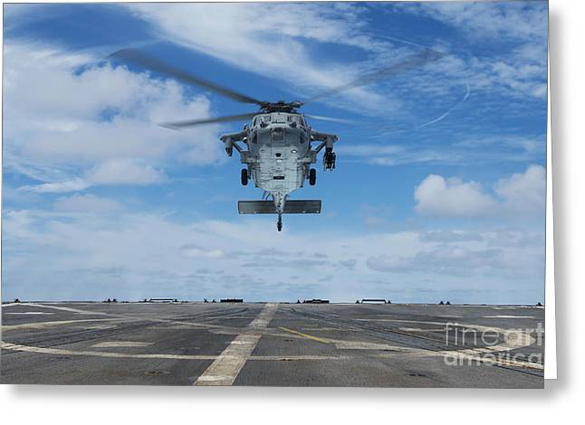 A U.s. Navy Mh-60s Seahawk Helicopter Greeting Card