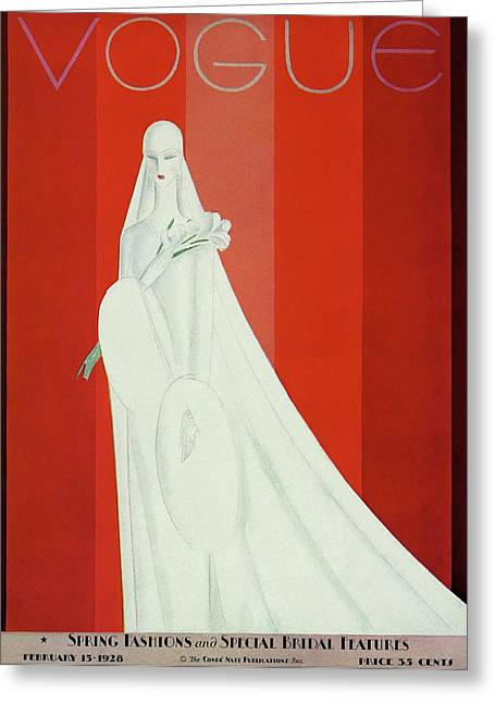 A Vintage Vogue Magazine Cover Of A Mannequin Greeting Card by Eduardo Garcia Benito