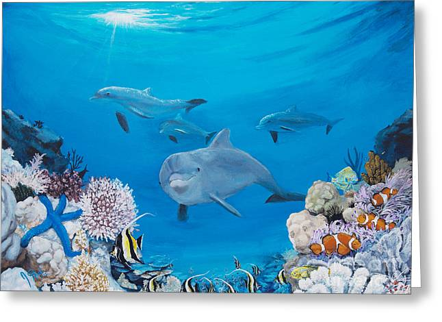 A Visit To The Reef Greeting Card by Jeremy Reed