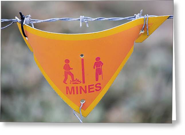 A Warning Sign About Mines Greeting Card
