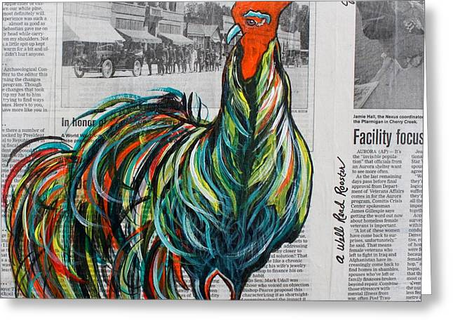 Greeting Card featuring the painting A Well Read Rooster by Janice Rae Pariza
