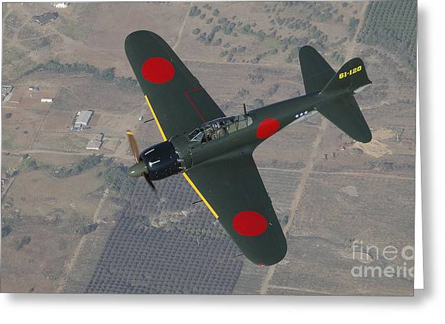 A6m Japaneese Zero Flying Over Chino Greeting Card by Phil Wallick
