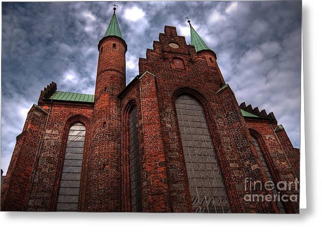 Aarhus Church Hdr Greeting Card by Antony McAulay
