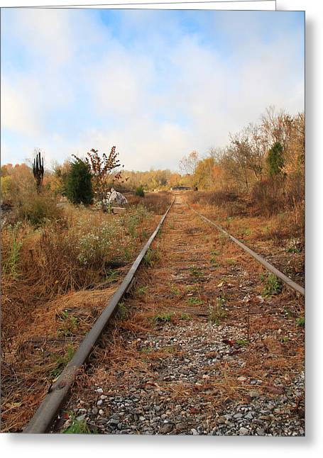 Abandoned Tracks Greeting Card by Melinda Fawver