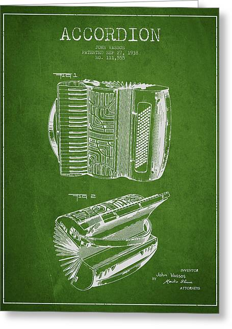 Accordion Patent Drawing From 1938 Greeting Card
